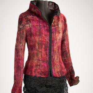 Jacke aus Seidenorganza mit abstrakter Musterung aus Mohairfasern